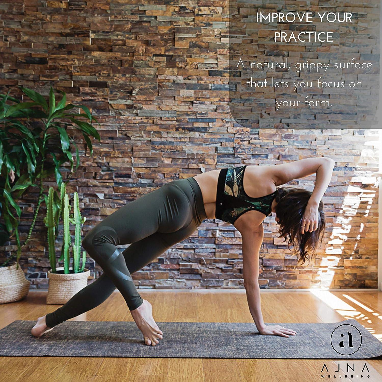 Ajna Eco Organic Yoga Mat - Natural Jute Yoga Mats - Large Non Slip - Reversible Jute PER - Carrying Strap - Extra Long Yoga Mat 72 Inch - 5mm - All ...