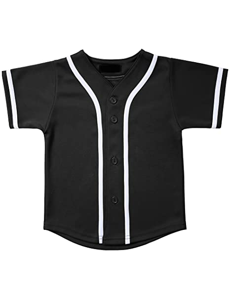 445ca3a2 Hat and Beyond Kids Baseball Button Down Jersey (2T, 5up01_Black/White)