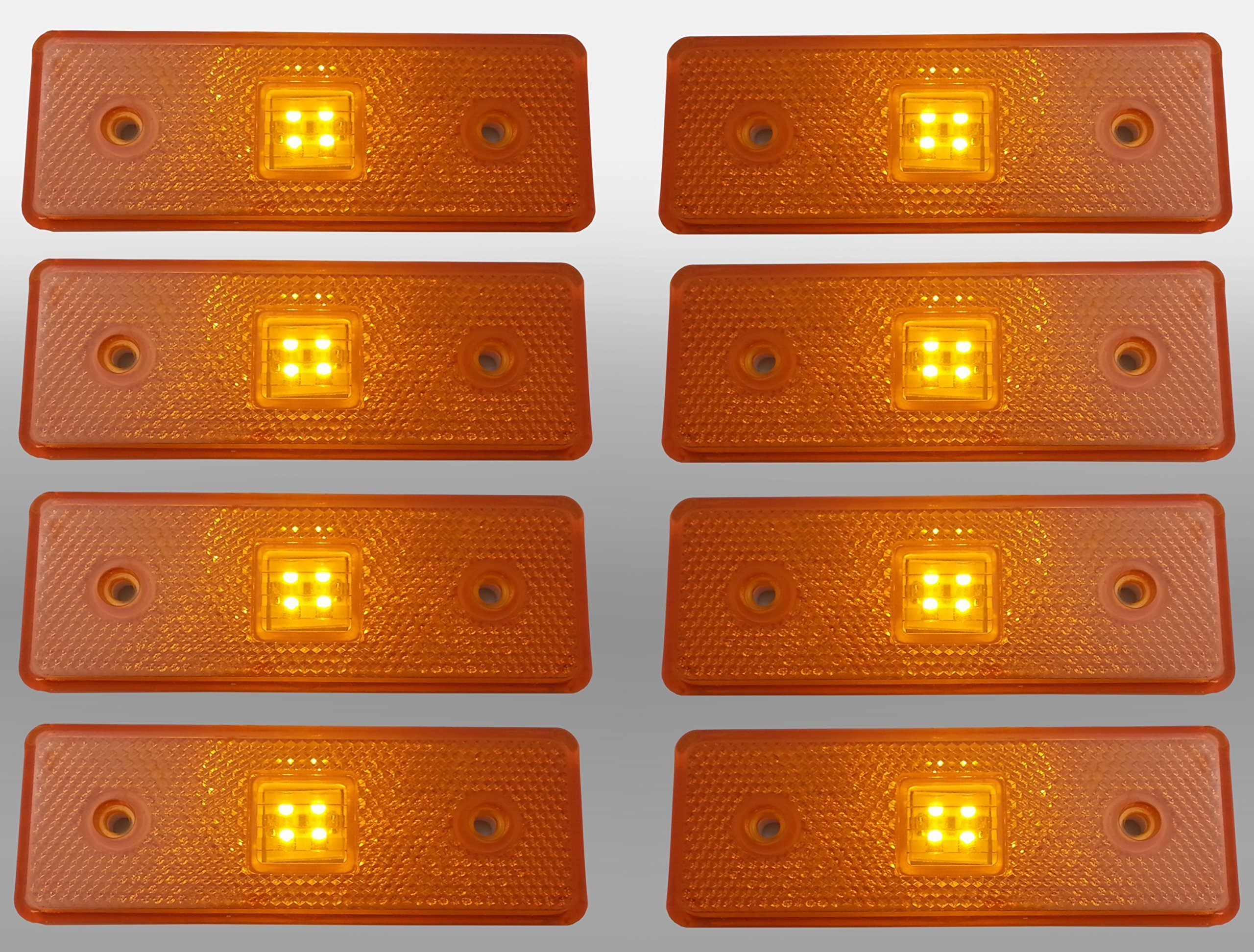 flexzon 8 x 24v 24 volt LED yellow side marker light indicator trailer truck lorry
