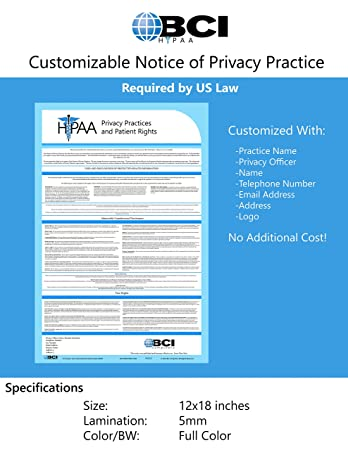 Amazon.com : 2017 HIPAA Notice of Privacy Policy Poster Customized ...