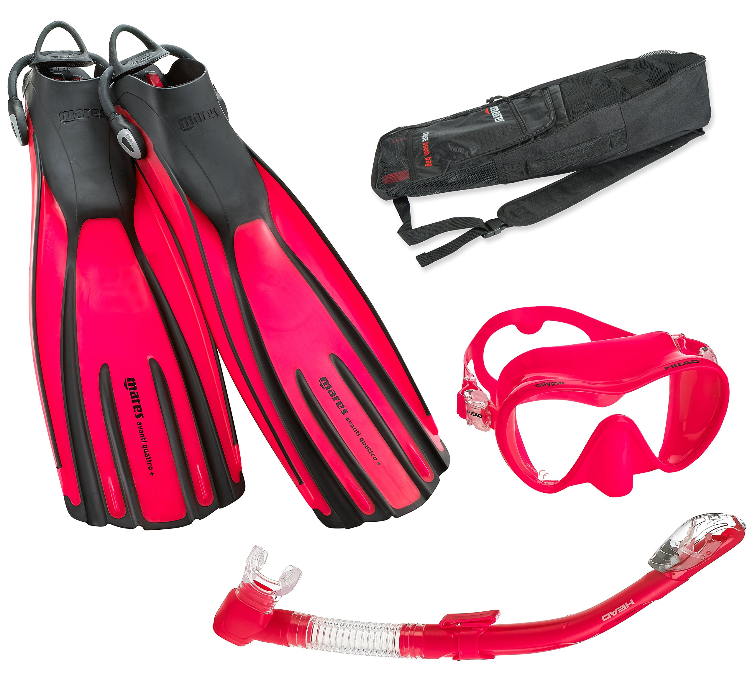 Mares Avanti Quattro Plus Fin Calypso Mask Dry Snorkel Set with Bag, Flamingo, Small