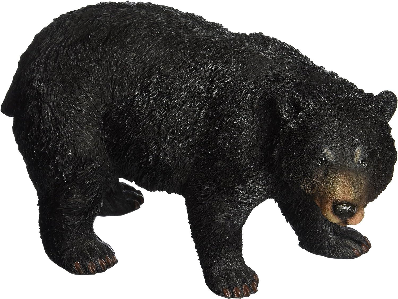 Design Toscano QM24217001 Black Bear Statue Walking, Multicolored