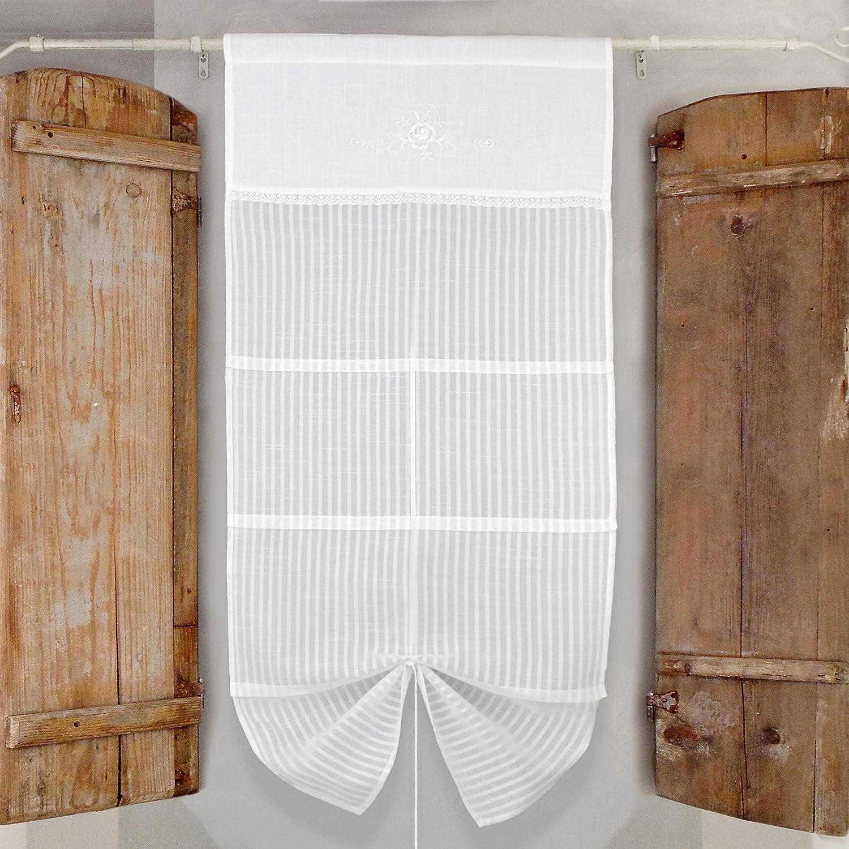 F-Home Coppia Tende Finestra Shabby Chic con Coulisse Colore Bianco Ricamo Bianco 60x150