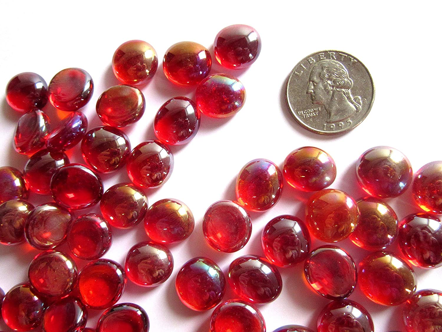 50 Mini Iridized Red Glass Gems, 11-14 mm Luster Flat Back Glass Marbles,Vase Fillers, Mosaic Tiles, Small