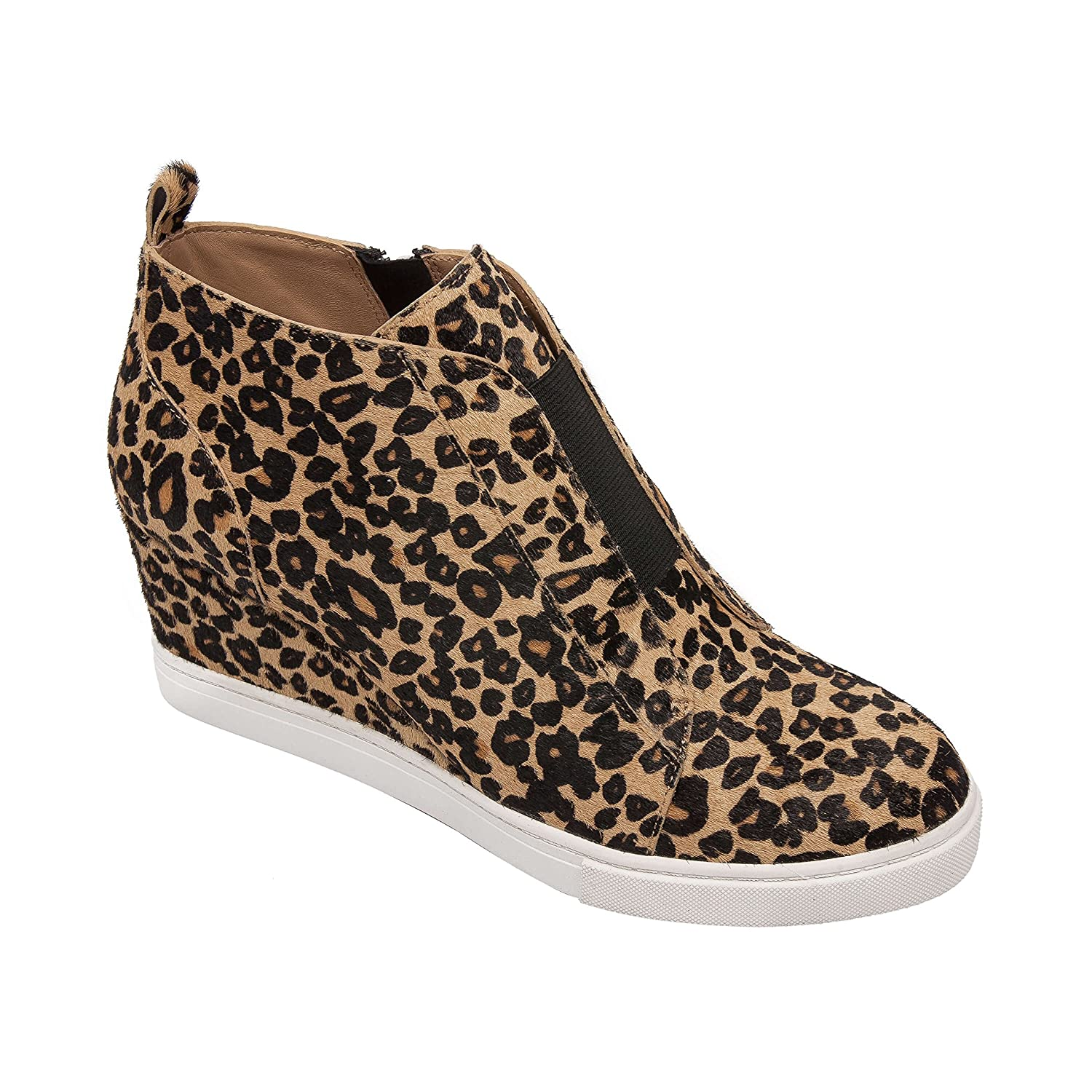 Felicia | Women's Platform Wedge Bootie Sneaker Leather Or Suede B07F75VFTY 5 M US|Sand/Black Leopard Print Hair Calf