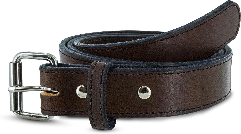 """Men/'s Genuine Black//Brown stitched leather Gun belt 11//2/"""" 5 yr warranty made USA"""