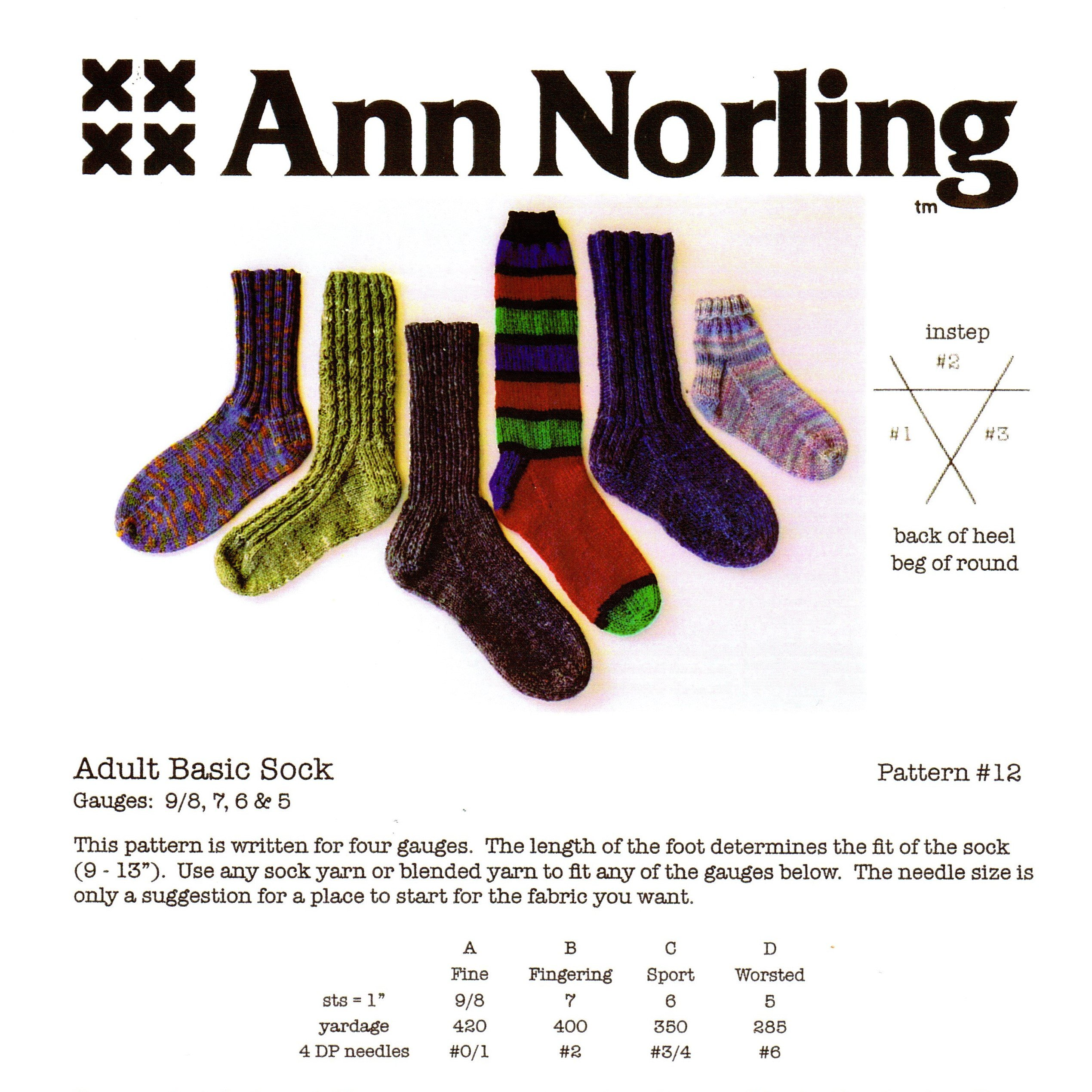 Ann Norling: Adult Basic- Socks- Knitting Pattern for 3 Gauges, Pattern No. 12 Pamphlet B000R2YA5C