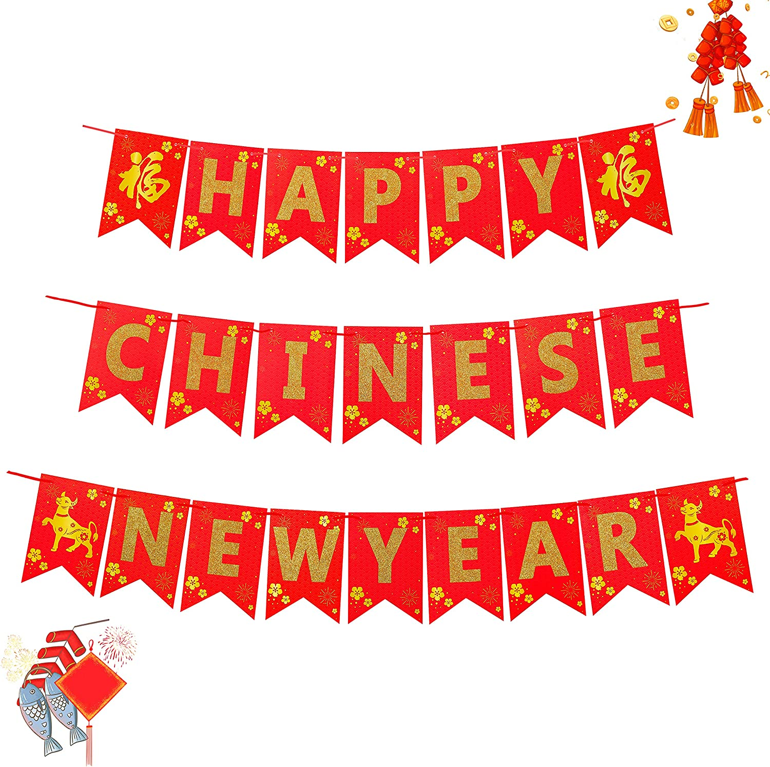 WATINC 3PCS 2021 Happy Chinese NEW YEAR Bunting Banner,Gold Glitter for NEW YEAR Festive Decorations Party Supplies,Year of Ox Party Banner Classroom Home Decor,Photo Props Decor for Mantle Fireplace