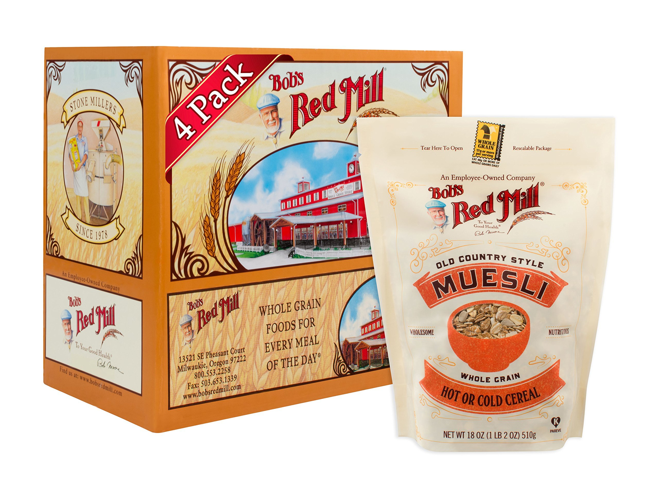 Bob's Red Mill Old Country Style Muesli Cereal, 18-ounce (Pack of 4) (Package May Vary)