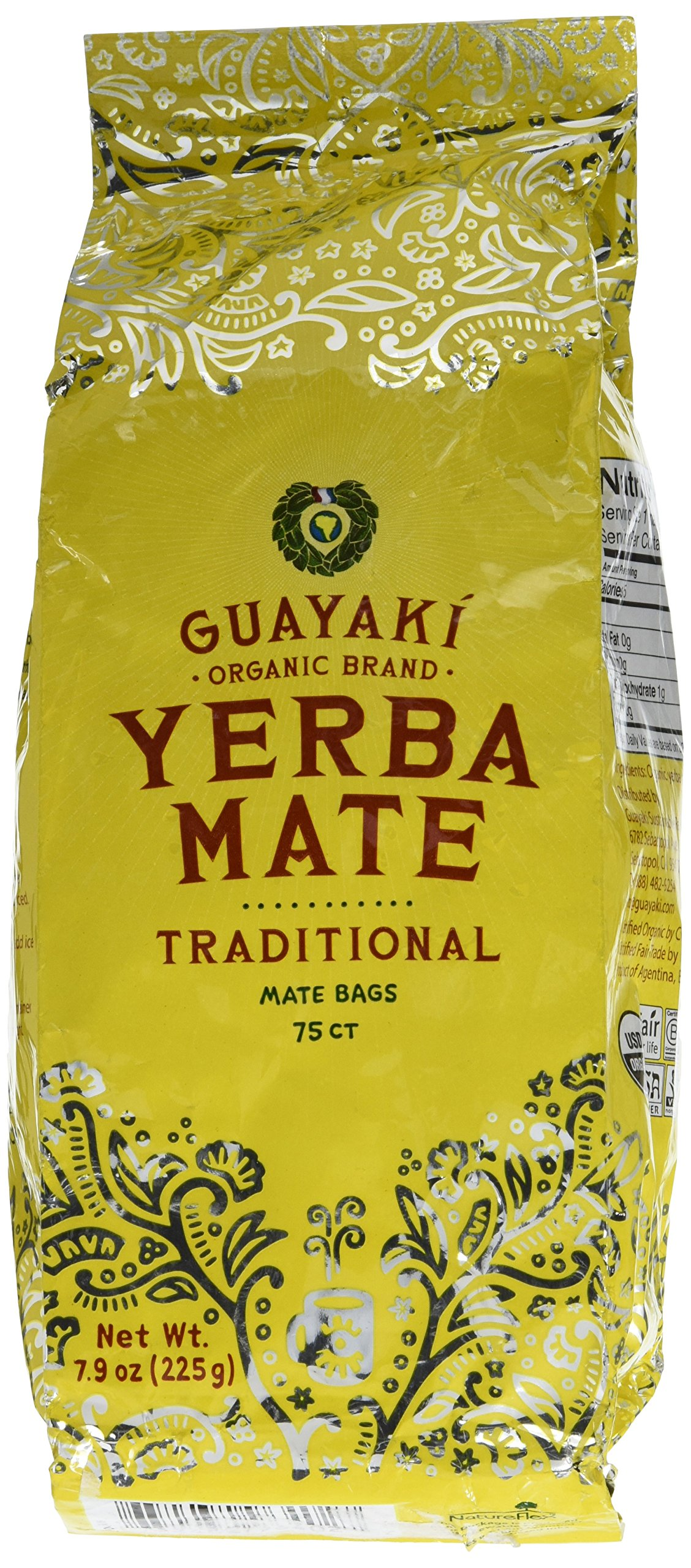 Guayaki Traditional Organic Mate Tea, 7.9oz (225g), 75 Tea Bags (Pack of 2) by GUAYAKI
