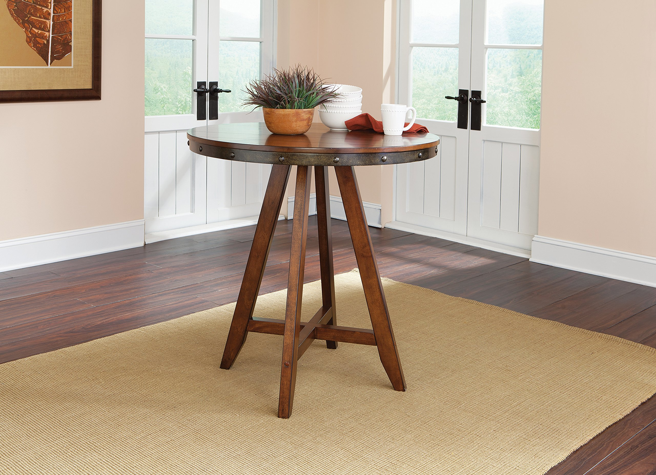 "Sauder 415089 Carson Forge Round Counter-Ht Table, Washington Cherry Finish - Durable, wood composite top Solid wood legs W: 35.984"" X D: 38.984"" X H: 35.00"" - kitchen-dining-room-furniture, kitchen-dining-room, kitchen-dining-room-tables - 91tnS7p7n%2BL -"