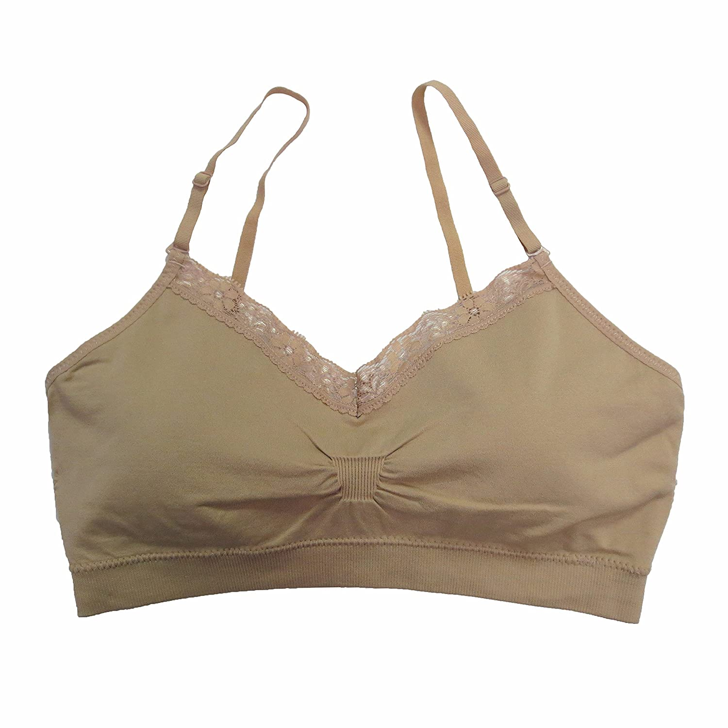 Coobie Women`s Seamless V-Neck Lace Trim Bra Dark Nude) 9042