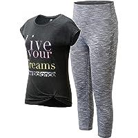 New Balance Girls' Active Leggings Set - Short Sleeve Performance T-Shirt and Capri Leggings Activewear Set (2 Piece)