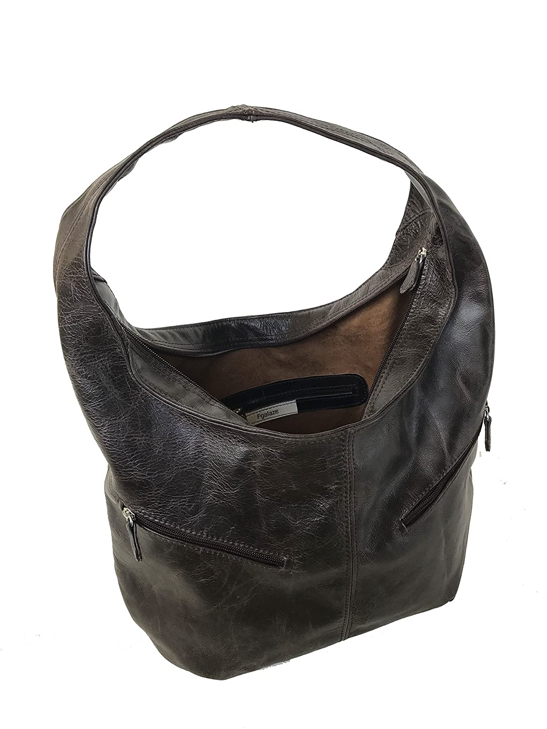 ac60ed6ae24a Amazon.com  Fgalaze Distressed Wash Leather Hobo Purse w Pockets ...