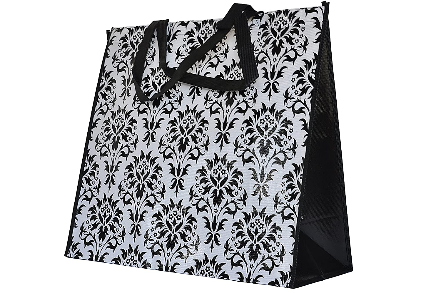 ReBagMe Extra Large Very Strong Reusable Grocery BagLaminated Recycled Shopper ToteVery Large Gift BagGreat Waterproof Beach Bag (19x17x8 Inches, Damask) by ReBagMe B012Y94NQ6  Damask 1