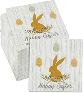 Easter Bunny Party Decorations, Wood Design Napkins (5 x 5 In, 150 Pack)