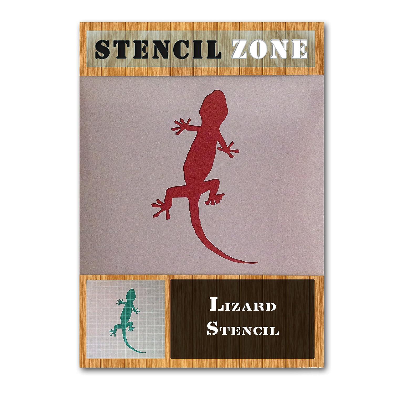 Gecko Lizard Reptile Animal Mylar Airbrush Painting Wall Art Stencil (A6 Size Stencil - XXSmall) STENCIL ZONE