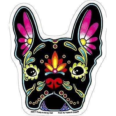 "Cali French Bulldog, Sugar Skull Dog - 4.13"" x 4.88"" - Sticker DECAL: Automotive"