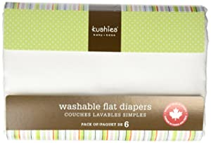 Image: Kushies Washable Flat Diapers | Made of premium quality 100% cotton flannel | Economical | no raw edges to irritate baby's skin