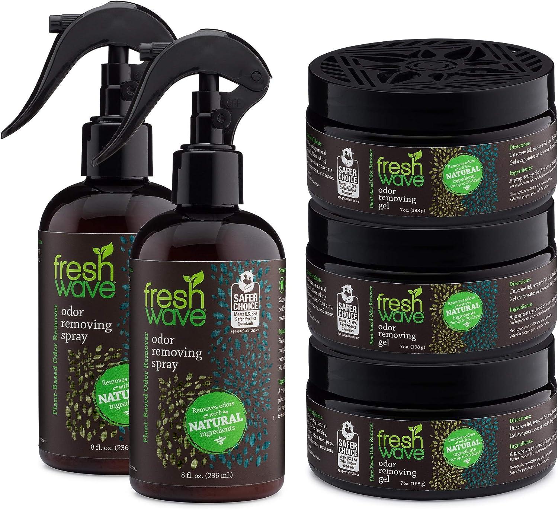 Fresh Wave Odor Removing Gel + Spray Bundle: (2) 8 fl. oz. Sprays + (3) 7 oz. Gels