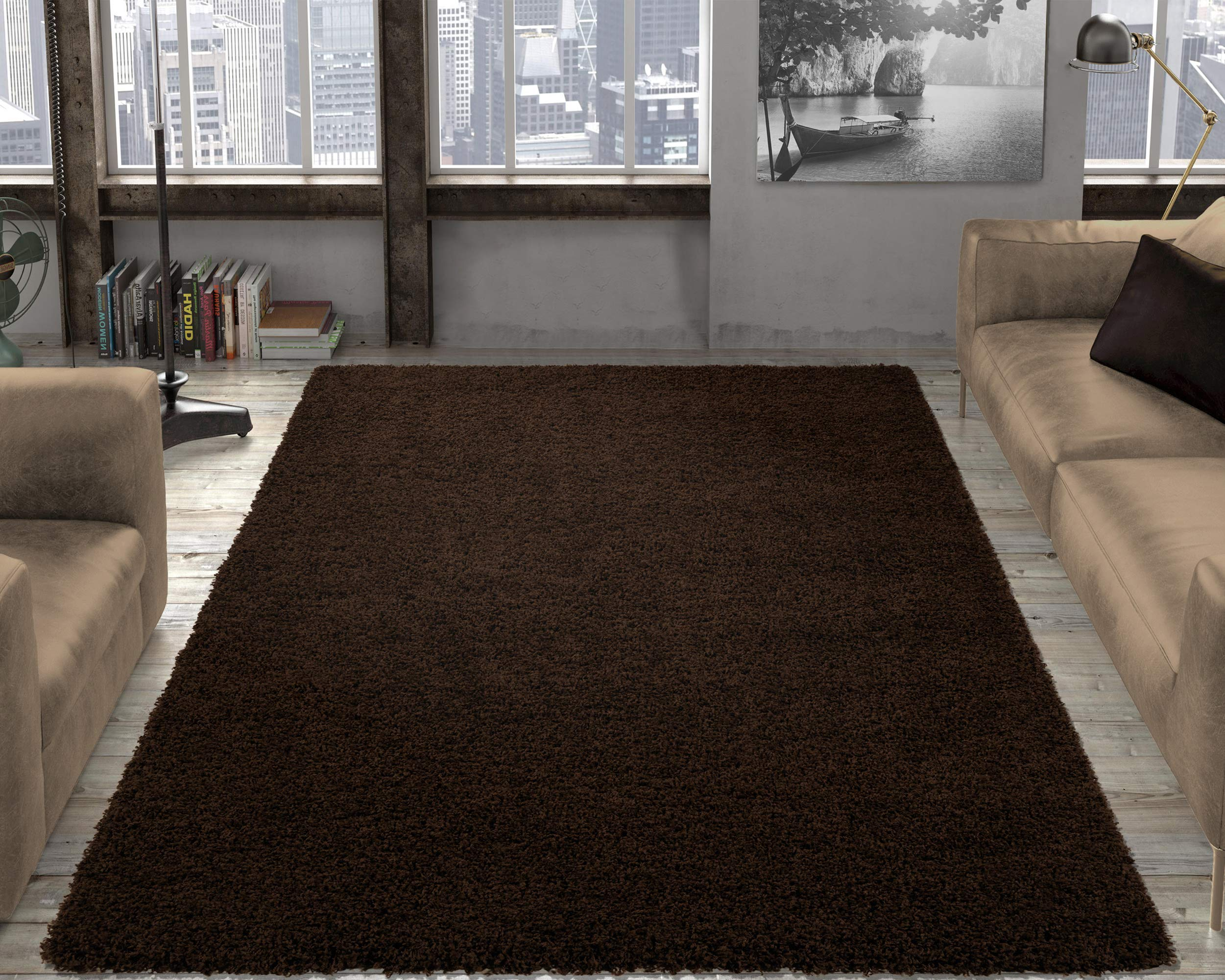 Ottomanson shag Collection Area Rug, 6'7'' x 9'3'', Brown by Ottomanson