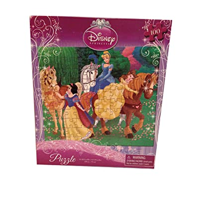 "Disney Princess(3) Puzzle - 100 Pieces - 10"" X 9 "" - Belle, Cinderella, Snow White with Horse: Toys & Games"