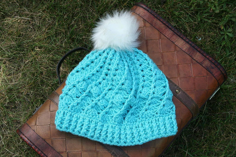 Amazon.com  Crochet Spiral Beanie with Faux Fur Pom Pom in Ice Blue   Handmade 6092891f3d4