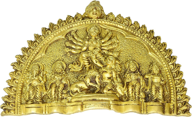 Gangesindia Goddess Durga Ma Brass Wall Plaque Fine Statue