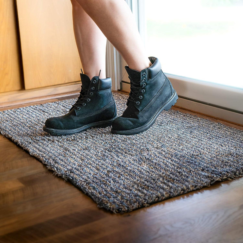 Rug Genius Absorbent Door Mat for Indoor Entrance 24x40 Inch Non Slip Rubber Mud Mat for Front Door Entryway, Soft Cotton Washable Low-Profile Inside Floor Door Mat - Blue/Gray