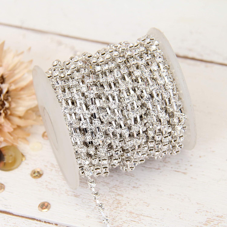 Threadart Crystal Rhinestone Chain SS12 Silver Tone Big 20 yard roll For Trimming Sewing Jewelry Crafts DIY 6 Styles Availble
