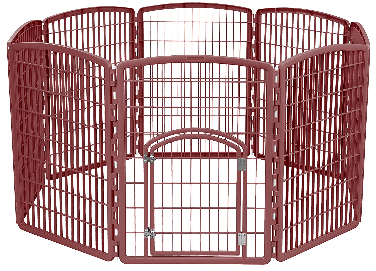 IRIS 34'' Exercise 8-Panel Pet Playpen with Door, Brown