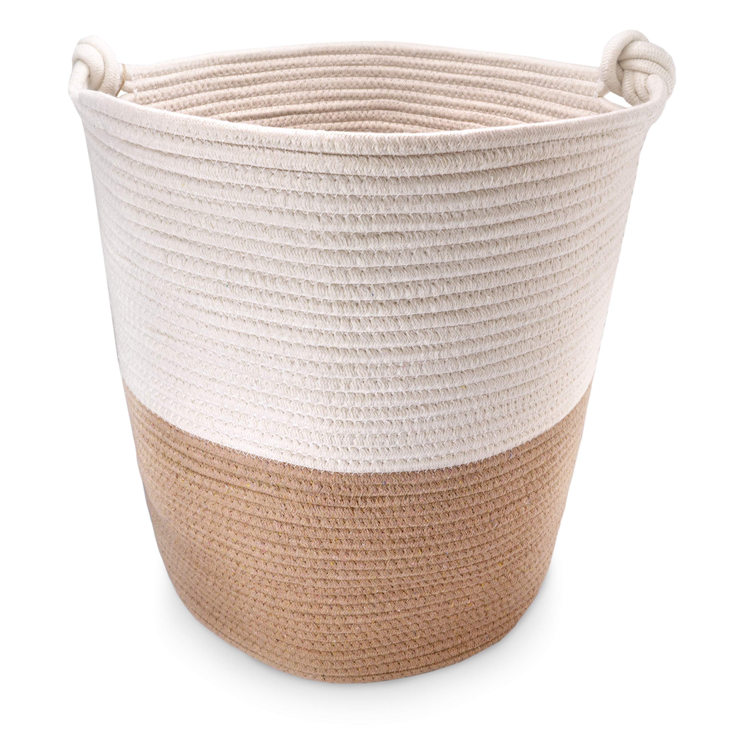 Large Cotton Rope Storage Baskets | Laundry | Woven | 18''x16'' | Blanket Holder with Handles | Baby Hamper | Toy Bin | Round Decorative Organizer | for Shoe Closet | Nursery | Living Room | Shelf by Alden & Obi