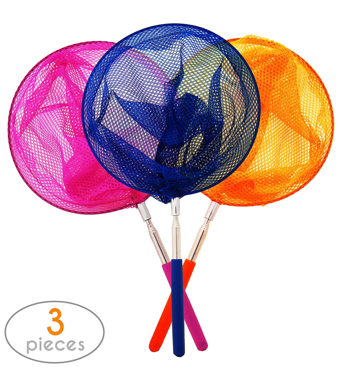 """Telescopic Kids Butterfly and Bug Net Set of 3, Extendable up to 34"""" by Stone&Clark. Multifunctional Catching Set for Outdoor Activities. Easy Storage, Good for All Kinds of Insects and Small Fish."""