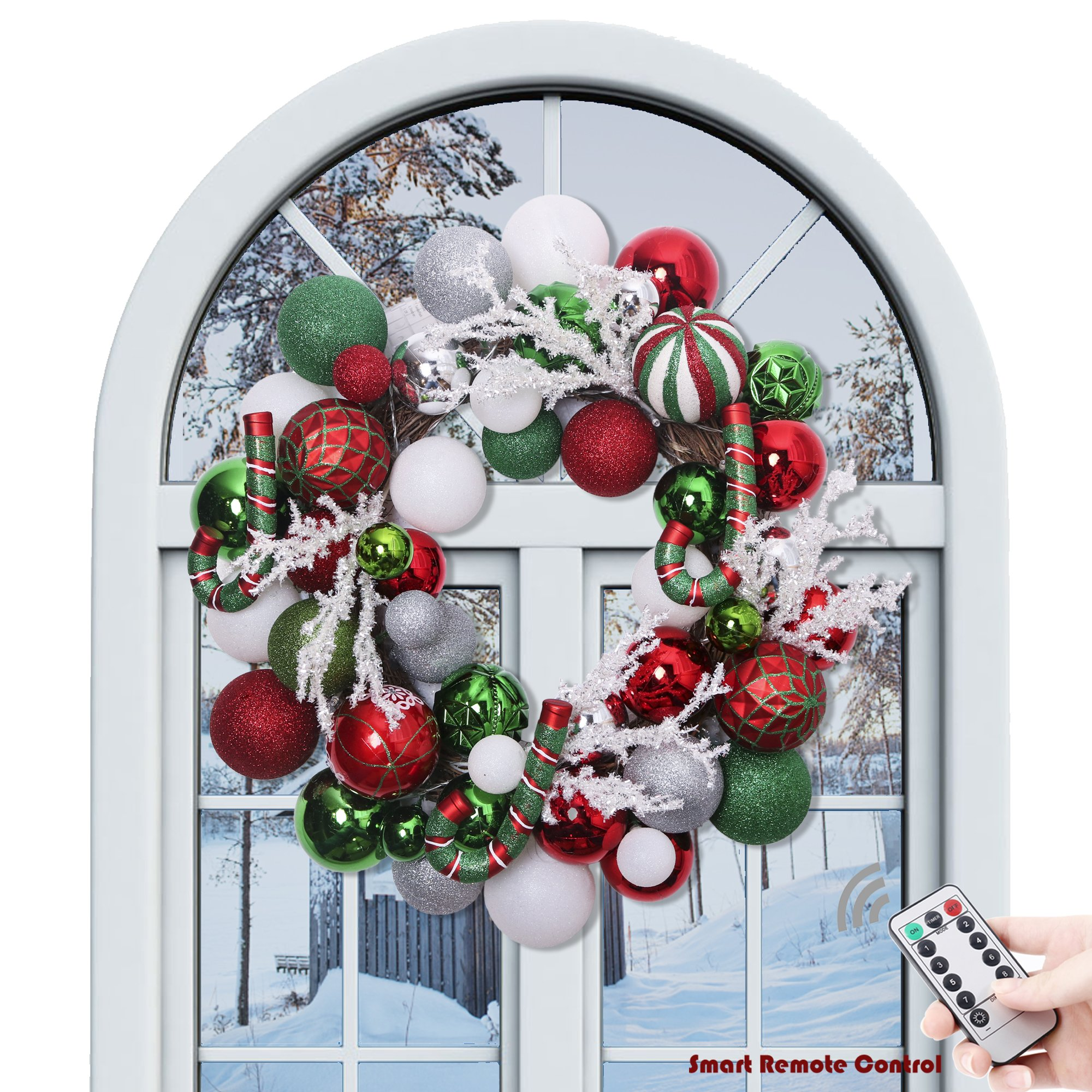 Valery Madelyn 20'' Pre-Lit Delightful Red Green Silver and White Christmas Wreath with Shatterproof Ball Ornaments, Rattan Base with 20 LED Lights, Remote and Timer Included