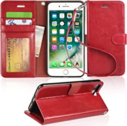 Arae iPhone 7 Plus / 8 Plus Leather case with Card Slots and Wallet for Girls,Wine Red