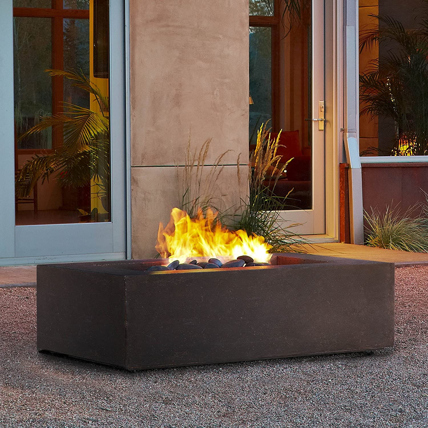amazoncom t9650lp rectangle propane fire table kodiak brown patio lawn u0026 garden - Fire Tables