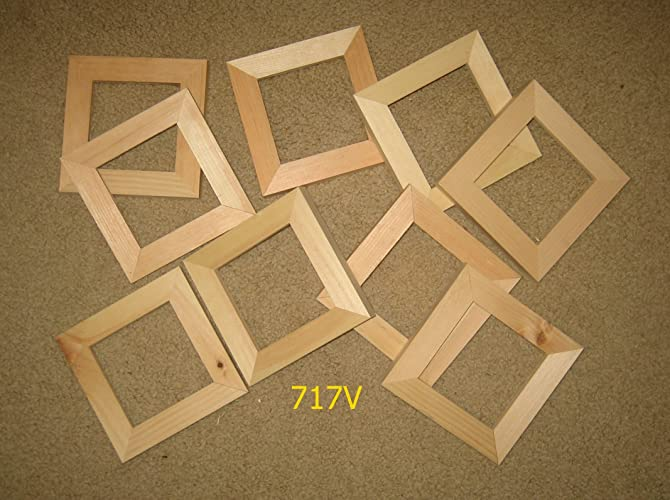 Amazon.com: 9 square 4x4 unfinished wood picture frames (717V): Handmade