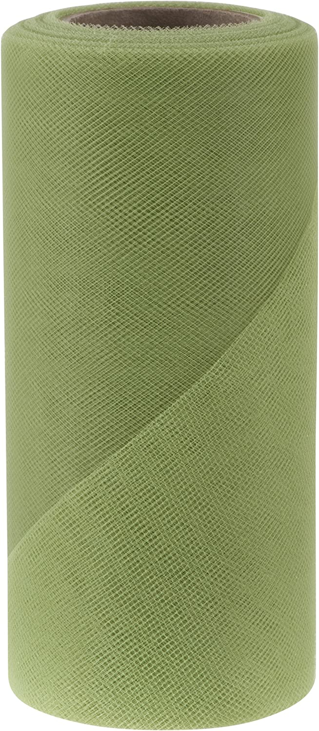 Falk Fabrics Tulle Spool for Decoration, 6-Inch by 25-Yard, Olive