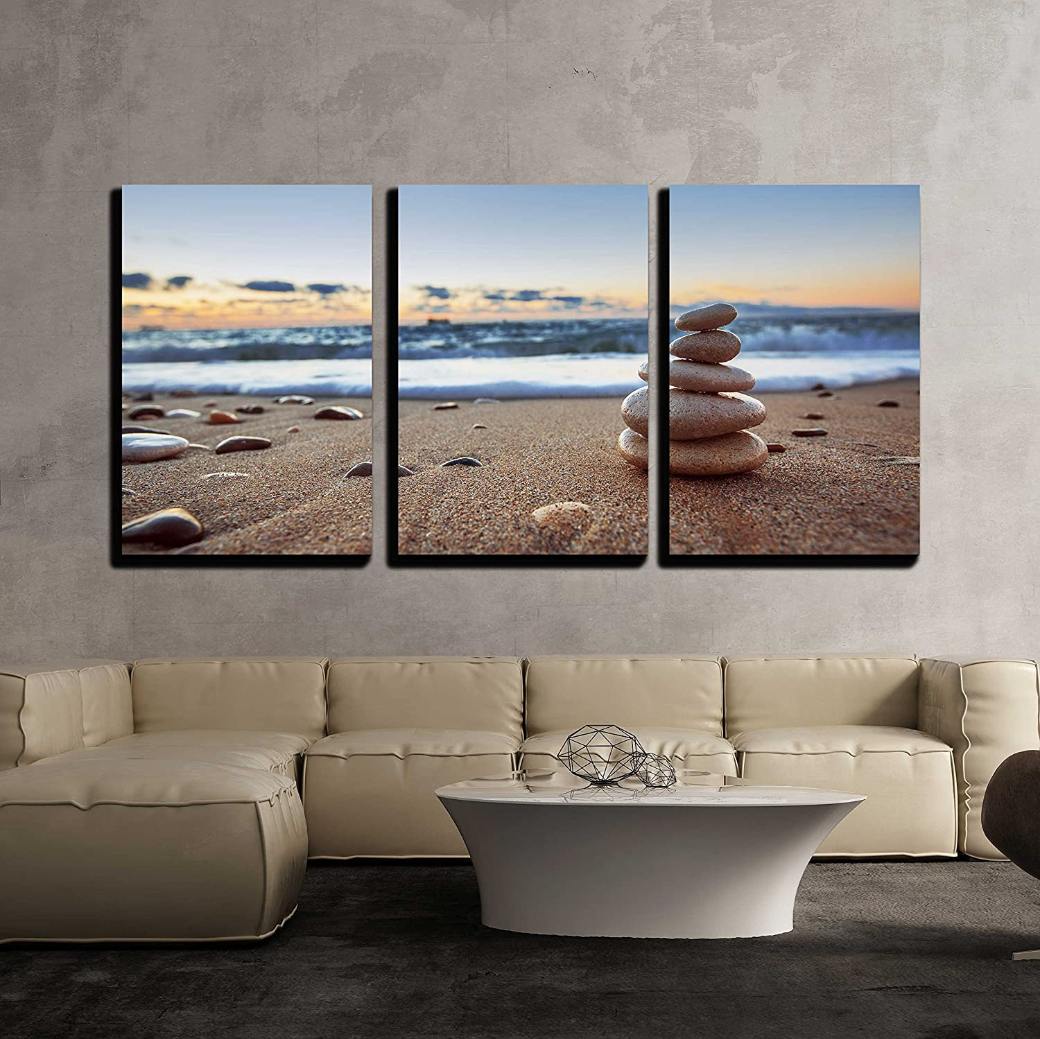 Wonderful Handicraft, With a Professional Touch, Stones Balance on Beach Sunrise Shot x3 Panels