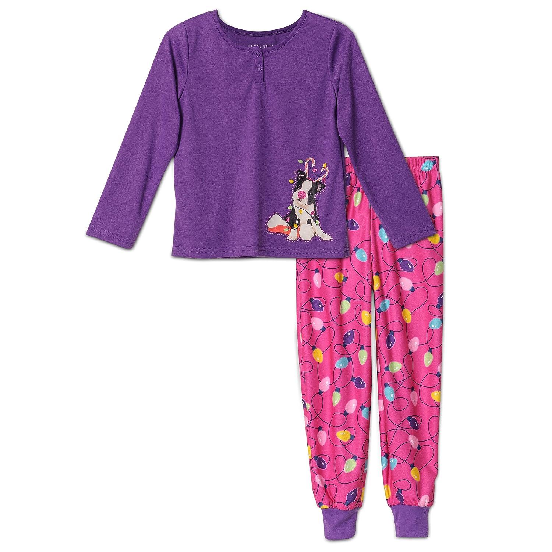 Komar Kids Girls' Holiday Tangled Puppy 2 Piece Pajama Set, Kids Sizes 4-16