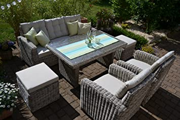 Amazon.de: bomey Rattan Lounge Set I Gartenmöbel Set Sofa Manhattan ...