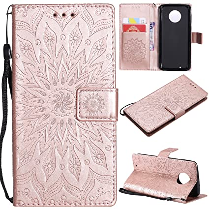 new arrival ac476 81f16 NOMO Moto G6 Wallet Case, Moto G (6th Generation) Case,Moto G6 Flip Case PU  Leather Emboss Mandala Sun Flower Folio Magnetic Kickstand Cover with Card  ...