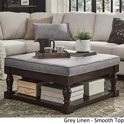 Astounding Inspire Q Lennon Baluster Espresso Storage Ottoman Coffee Table By Classic Grey Linen Smooth Top Gamerscity Chair Design For Home Gamerscityorg
