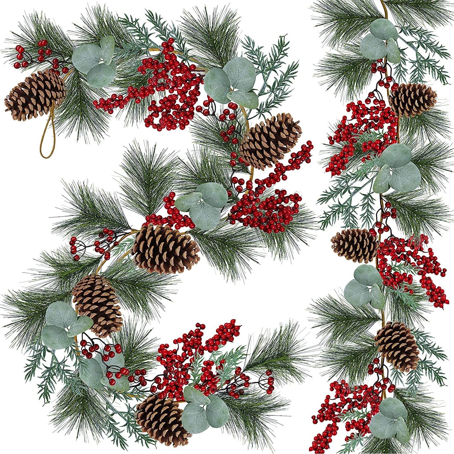 2 PCS 6' Long Christmas Artificial Pine Needle Garland Wired Rustic Twig Vine Birch Garland with Assorted Faux Red Berries Eucalyptus Leaves Natural Pine Cones Garland Holiday Season Winter Decor