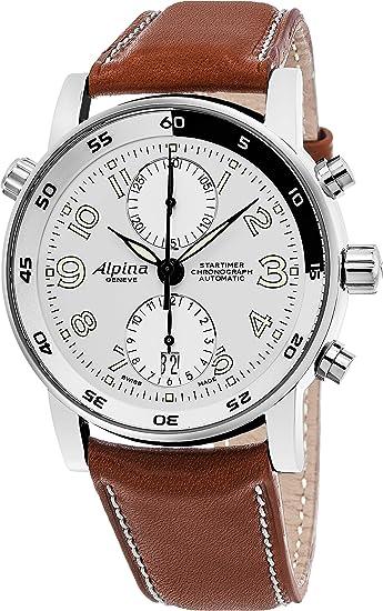 Alpina Startimer Cronógrafo Automático para Hombre Color Plateado cara marrón correa de piel reloj automático suizo al-725lww4r16 BRN: Amazon.es: Relojes