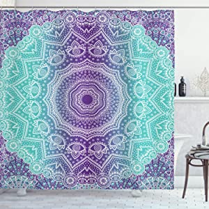 """Ambesonne Purple and Turquoise Shower Curtain, Hippie Ombre Mandala Inner Peace and Meditation with Ornamental Art, Cloth Fabric Bathroom Decor Set with Hooks, 75"""" Long, Purple Aqua"""