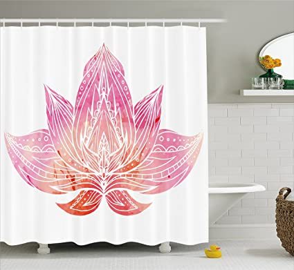 Ambesonne Lotus Shower Curtain Pink Flower With Ornaments On White Background Boho Style Artwork