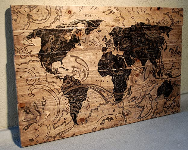 World Map On Wood Planks Amazon.com: Large Wood Paisley World Map Wall Art on Distressed