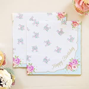 Talking Tables Tea Party Happy Birthday Floral Napkins   Truly Scrumptious   Also Great For Birthday Party, Baby Shower, Wedding And Anniversary   Paper, 20 Pack - TS3-NAPKIN-HB