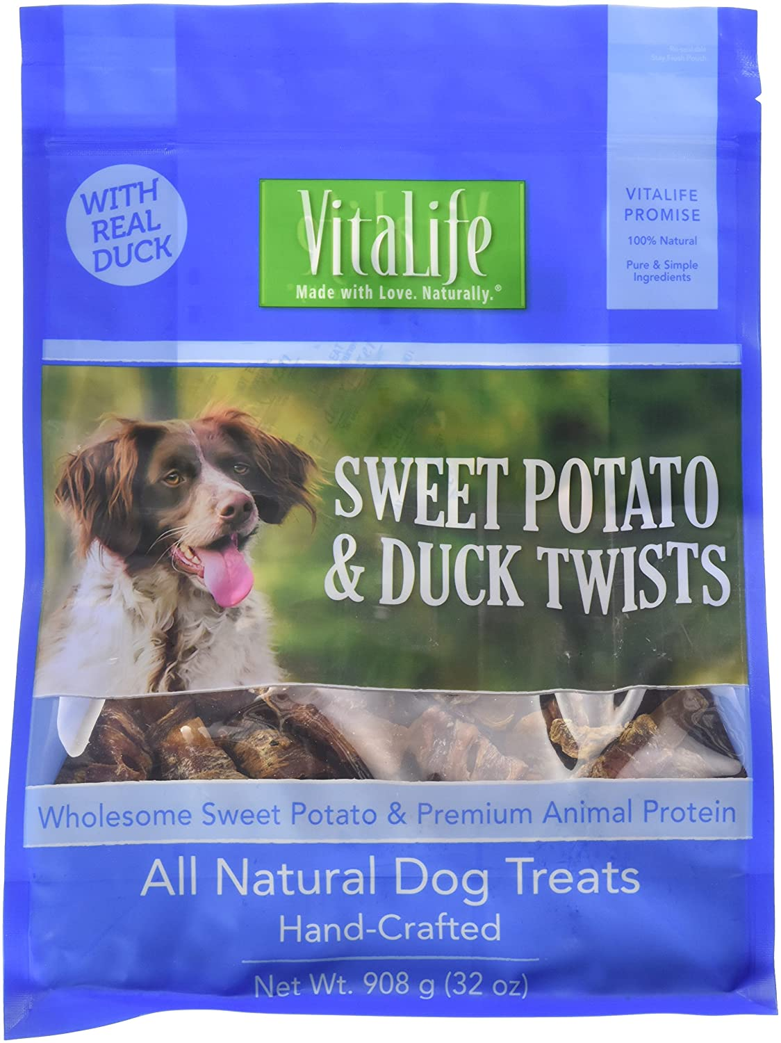 VitaLife All Natural Dog Treats - Sweet Potato & Duck Twists 227 g (8 oz) 6X227GDUCKSWETPOPUR